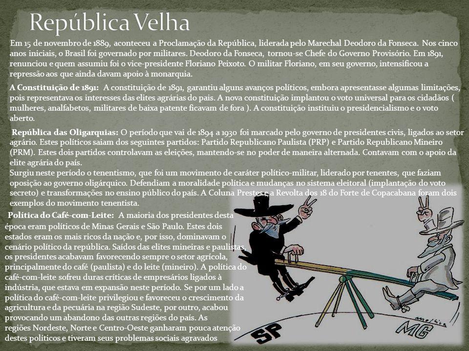 Em 15 de novembro de 1889, aconteceu a Proclamação da República, liderada pelo Marechal Deodoro da Fonseca. Nos cinco anos iniciais, o Brasil foi gove