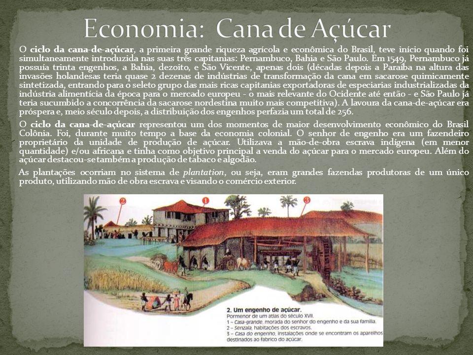 O ciclo da cana-de-açúcar, a primeira grande riqueza agrícola e econômica do Brasil, teve início quando foi simultaneamente introduzida nas suas três