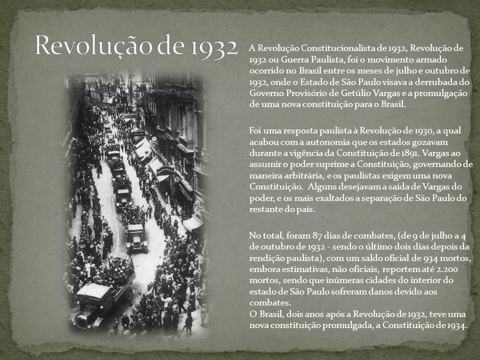 A Revolução Constitucionalista de 1932, Revolução de 1932 ou Guerra Paulista, foi o movimento armado ocorrido no Brasil entre os meses de julho e outu