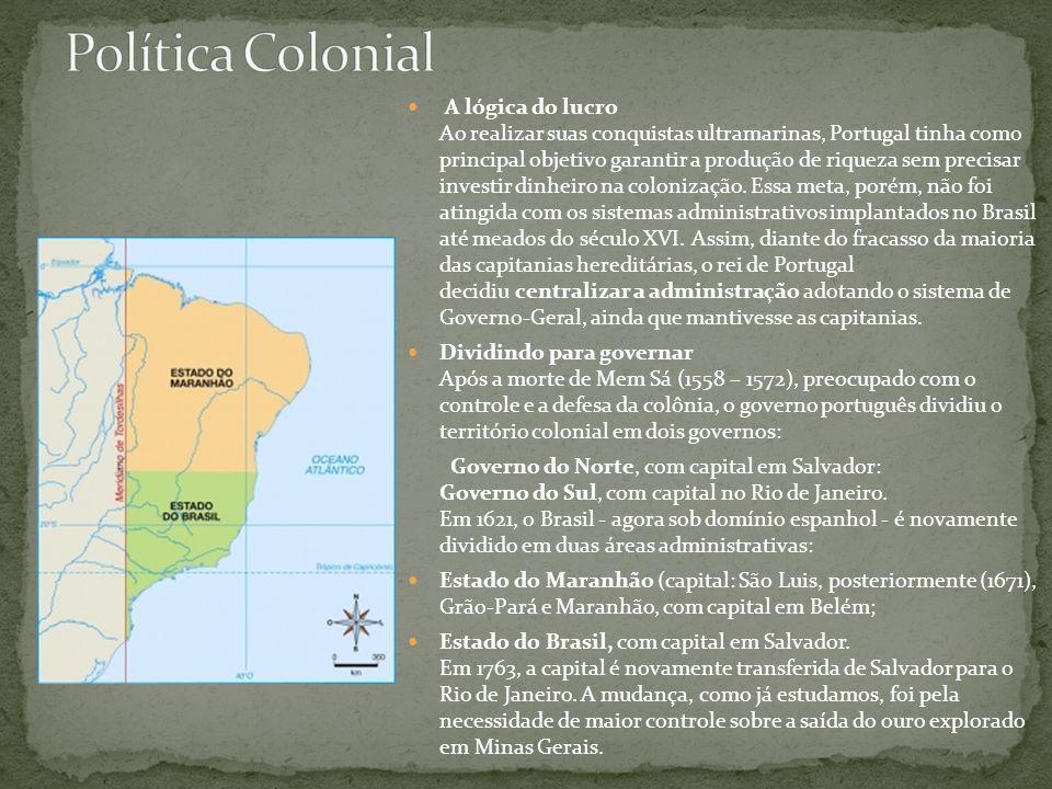 A lógica do lucro Ao realizar suas conquistas ultramarinas, Portugal tinha como principal objetivo garantir a produção de riqueza sem precisar investi