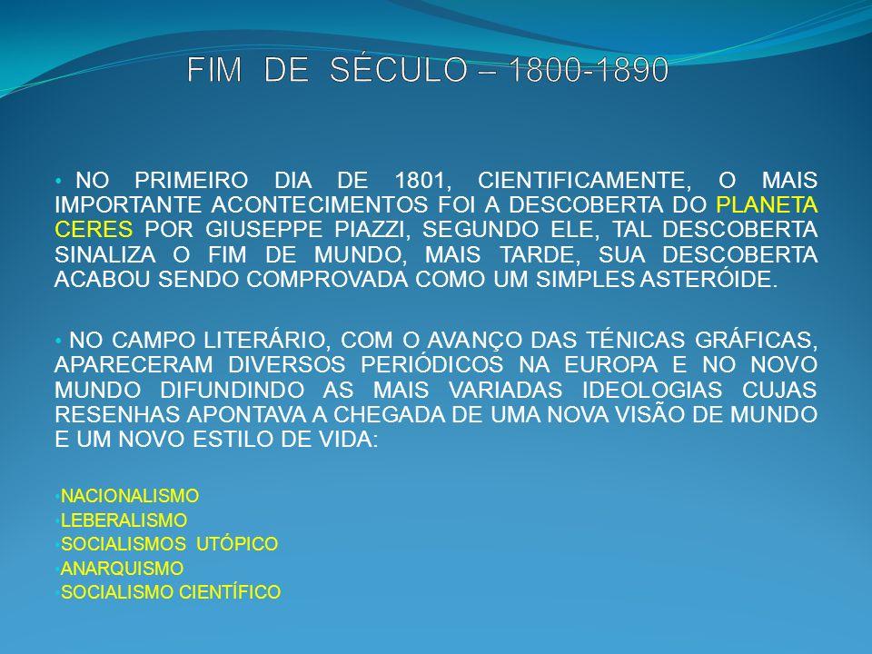 NO PRIMEIRO DIA DE 1801, CIENTIFICAMENTE, O MAIS IMPORTANTE ACONTECIMENTOS FOI A DESCOBERTA DO PLANETA CERES POR GIUSEPPE PIAZZI, SEGUNDO ELE, TAL DESCOBERTA SINALIZA O FIM DE MUNDO, MAIS TARDE, SUA DESCOBERTA ACABOU SENDO COMPROVADA COMO UM SIMPLES ASTERÓIDE.