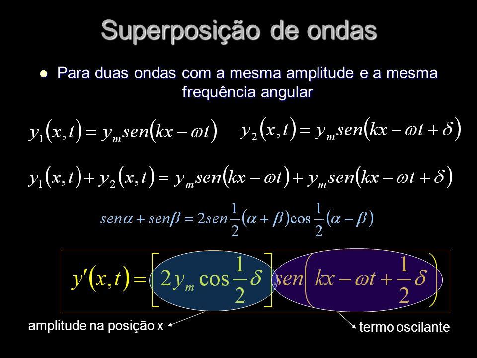 Para duas ondas com a mesma amplitude e a mesma frequência angular Para duas ondas com a mesma amplitude e a mesma frequência angular Superposição de