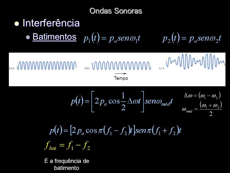 O som que se ouve tem uma frequência média E uma amplitude de Com oscilação na frequência de batimento f bat = f
