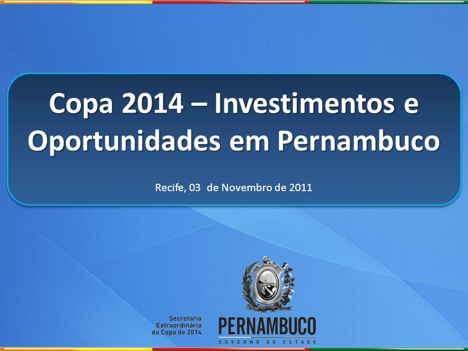Copa 2014 – Investimentos e Oportunidades em Pernambuco Recife, 03 de Novembro de 2011 Copa 2014 – Investimentos e Oportunidades em Pernambuco Recife,