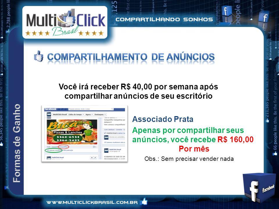 Você irá receber R$ 40,00 por semana após compartilhar anúncios de seu escritório Apenas por compartilhar seus anúncios, você recebe R$ 160,00 Por mês Associado Prata Obs.: Sem precisar vender nada