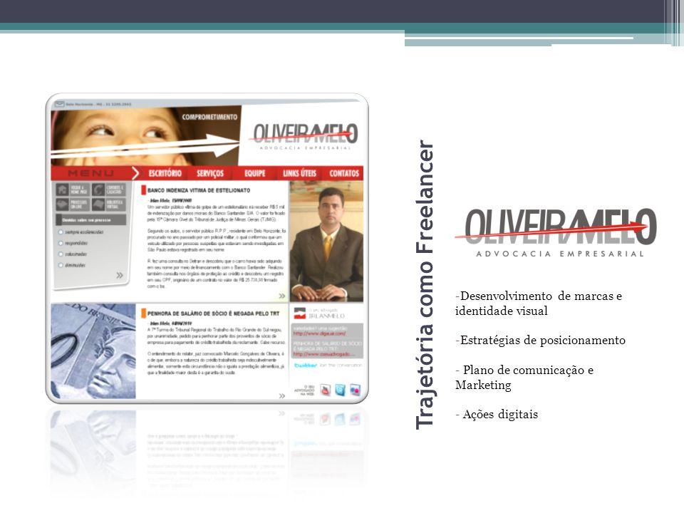 Trajetória como Freelancer -Desenvolvimento de marcas e identidade visual -Estratégias de posicionamento - Plano de comunicação e Marketing - Ações di