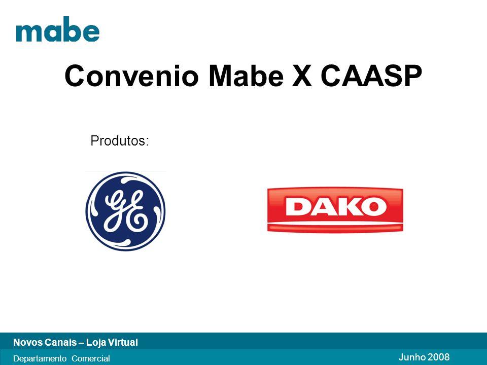 Junho 2008 Novos Canais – Loja Virtual Departamento Comercial Convenio Mabe X CAASP Produtos:
