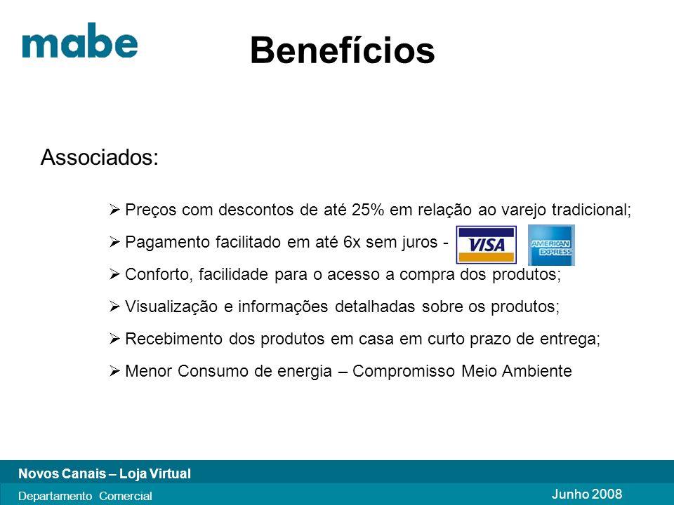 Junho 2008 Novos Canais – Loja Virtual Departamento Comercial Passo a Passo p/ acessar Digite em seu navegador o endereço: www.lojamabe.com.br Abrirá a seguinte pagina: