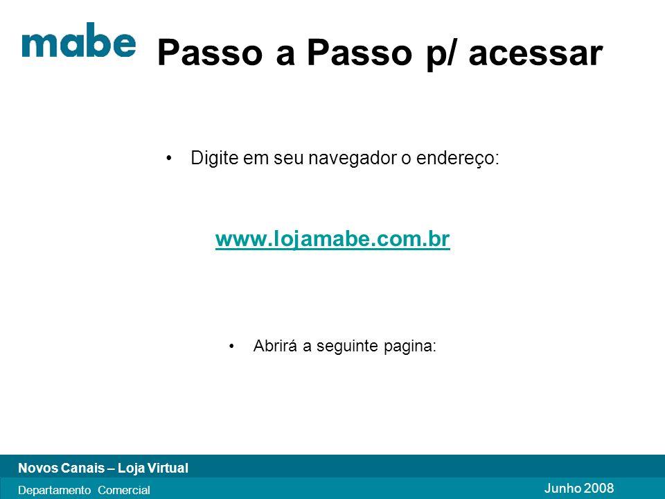 Junho 2008 Novos Canais – Loja Virtual Departamento Comercial Passo a Passo p/ acessar