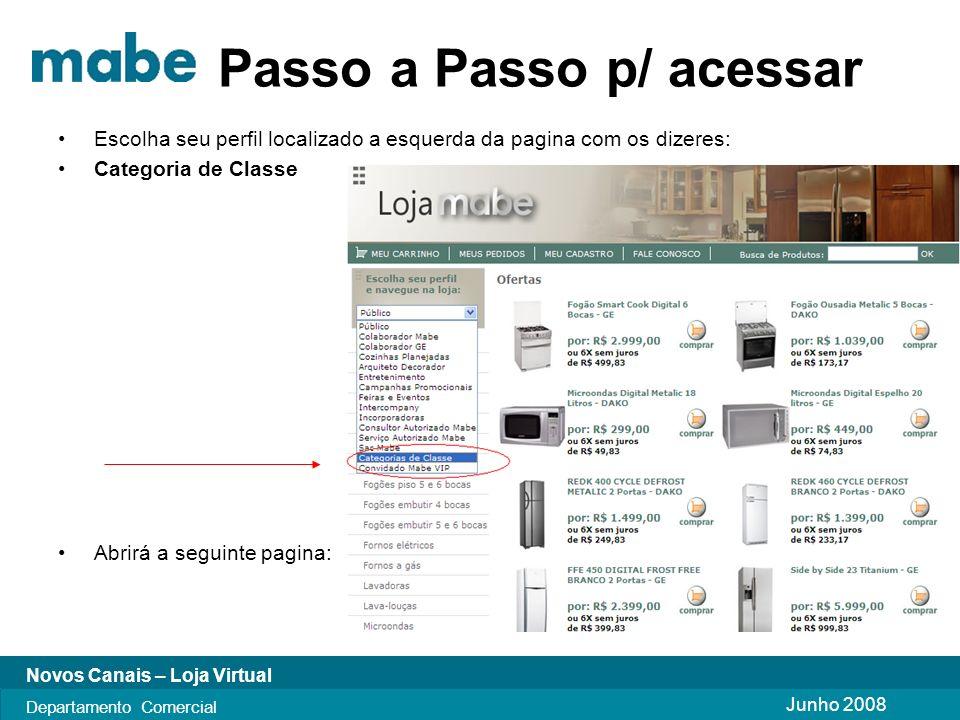 Junho 2008 Novos Canais – Loja Virtual Departamento Comercial Passo a Passo p/ acessar Escolha seu perfil localizado a esquerda da pagina com os dizeres: Categoria de Classe Abrirá a seguinte pagina: