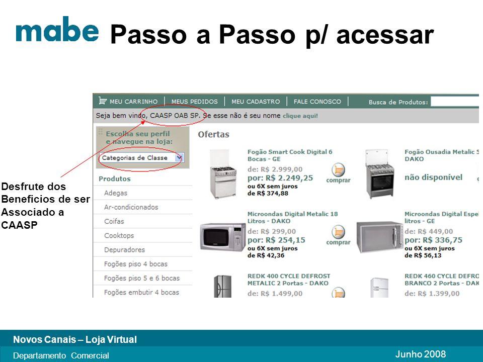 Junho 2008 Novos Canais – Loja Virtual Departamento Comercial Boas Compras Obrigado!