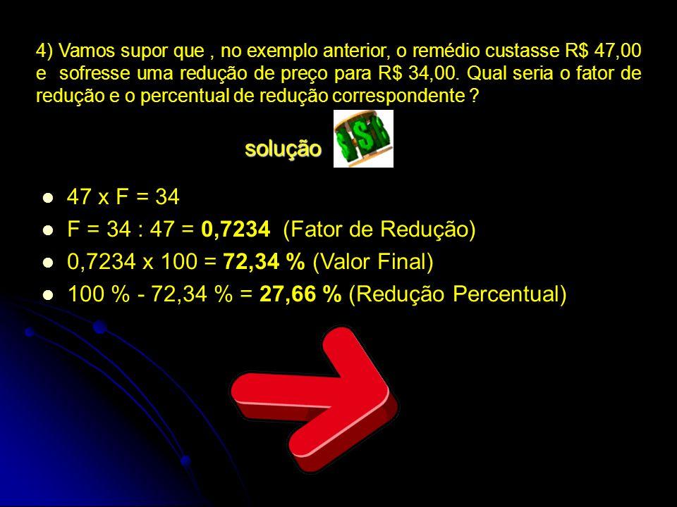 4) Vamos supor que, no exemplo anterior, o remédio custasse R$ 47,00 e sofresse uma redução de preço para R$ 34,00. Qual seria o fator de redução e o