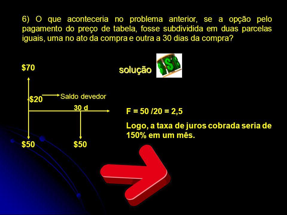 6) O que aconteceria no problema anterior, se a opção pelo pagamento do preço de tabela, fosse subdividida em duas parcelas iguais, uma no ato da comp