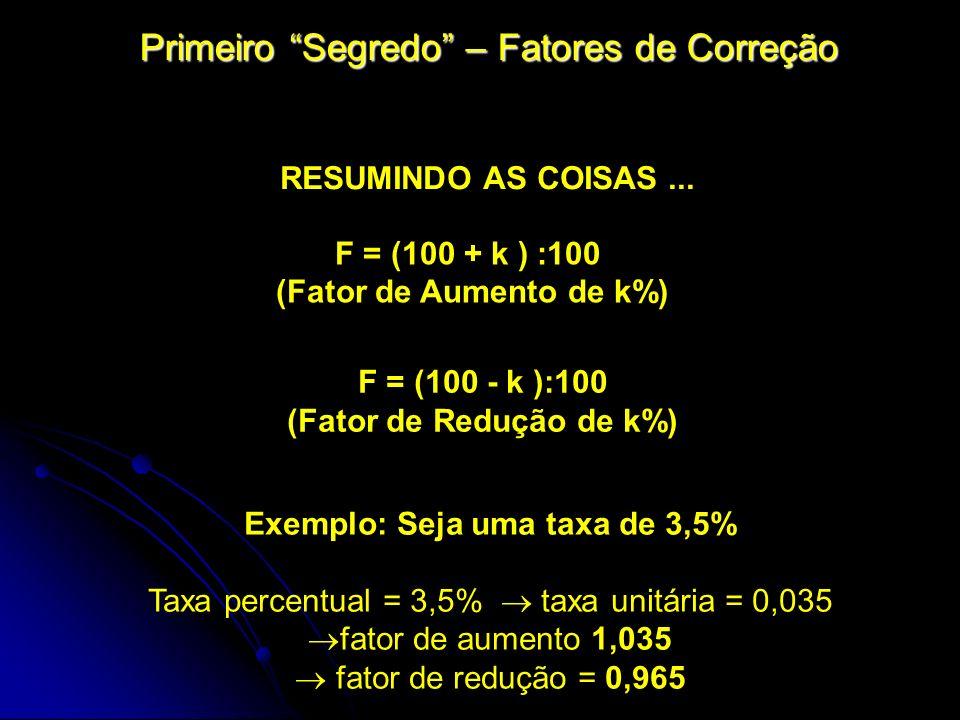 Primeiro Segredo – Fatores de Correção Exemplo: Seja uma taxa de 3,5% Taxa percentual = 3,5% taxa unitária = 0,035 fator de aumento 1,035 fator de red