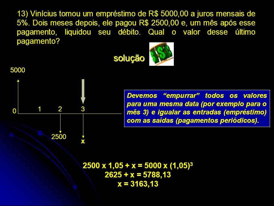 Devemos empurrar todos os valores para uma mesma data (por exemplo para o mês 3) e igualar as entradas (empréstimo) com as saídas (pagamentos periódic