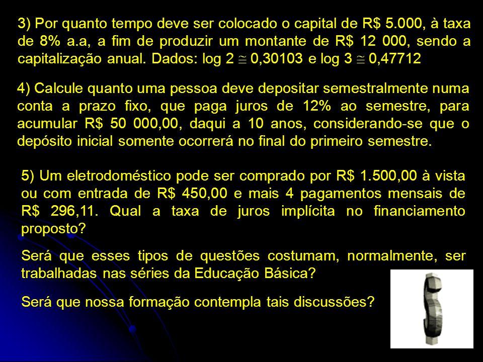 3) Por quanto tempo deve ser colocado o capital de R$ 5.000, à taxa de 8% a.a, a fim de produzir um montante de R$ 12 000, sendo a capitalização anual