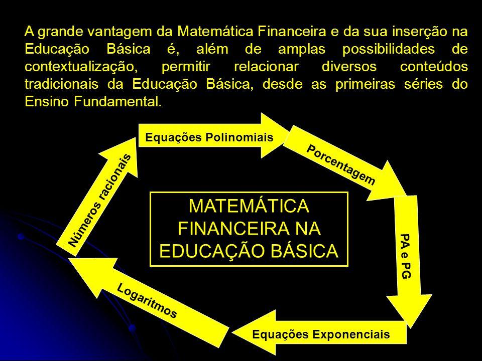 A grande vantagem da Matemática Financeira e da sua inserção na Educação Básica é, além de amplas possibilidades de contextualização, permitir relacio