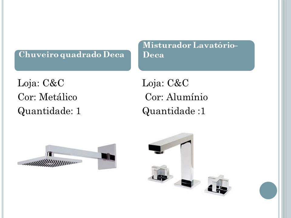 Loja: C&C Cor: Metálico Quantidade: 1 Loja: C&C Cor: Alumínio Quantidade :1 Chuveiro quadrado Deca Misturador Lavatório- Deca