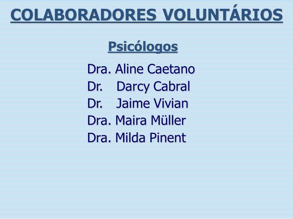 COLABORADORES VOLUNTÁRIOS Psicólogos Dra. Aline Caetano Dr. Darcy Cabral Dr. Jaime Vivian Dra. Maira Müller Dra. Milda Pinent