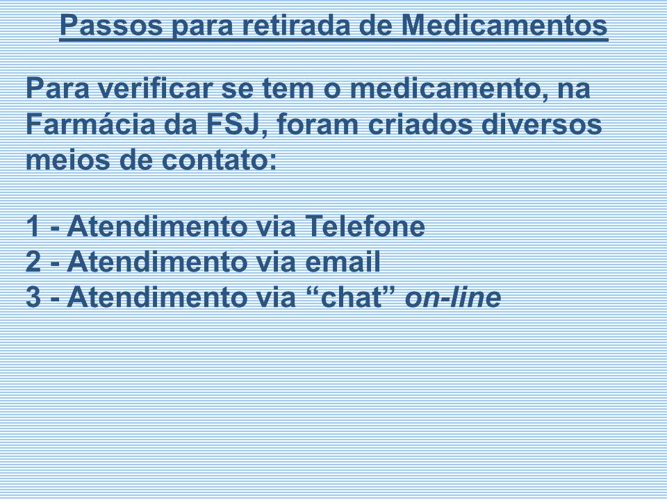 Para verificar se tem o medicamento, na Farmácia da FSJ, foram criados diversos meios de contato: 1 - Atendimento via Telefone 2 - Atendimento via ema