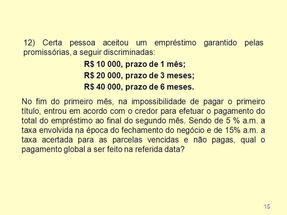 15 12) Certa pessoa aceitou um empréstimo garantido pelas promissórias, a seguir discriminadas: R$ 10 000, prazo de 1 mês; R$ 20 000, prazo de 3 meses; R$ 40 000, prazo de 6 meses.