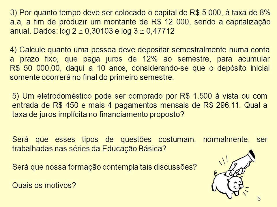 3 3) Por quanto tempo deve ser colocado o capital de R$ 5.000, à taxa de 8% a.a, a fim de produzir um montante de R$ 12 000, sendo a capitalização anual.