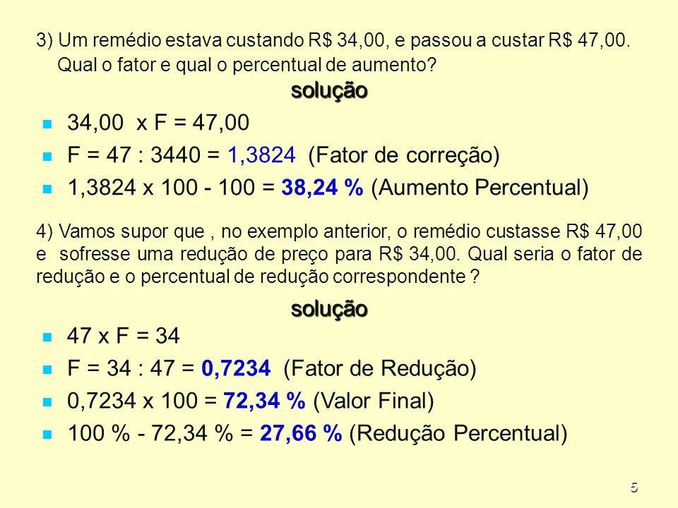 5 3) Um remédio estava custando R$ 34,00, e passou a custar R$ 47,00.