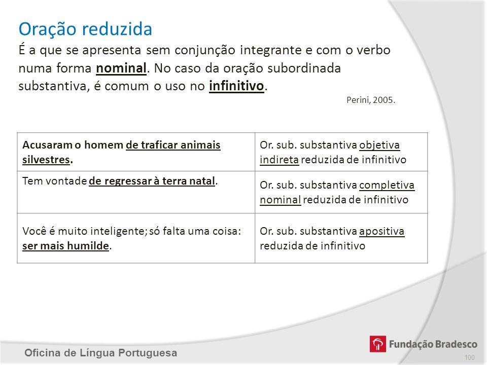Oficina de Língua Portuguesa Oração reduzida É a que se apresenta sem conjunção integrante e com o verbo numa forma nominal. No caso da oração subordi