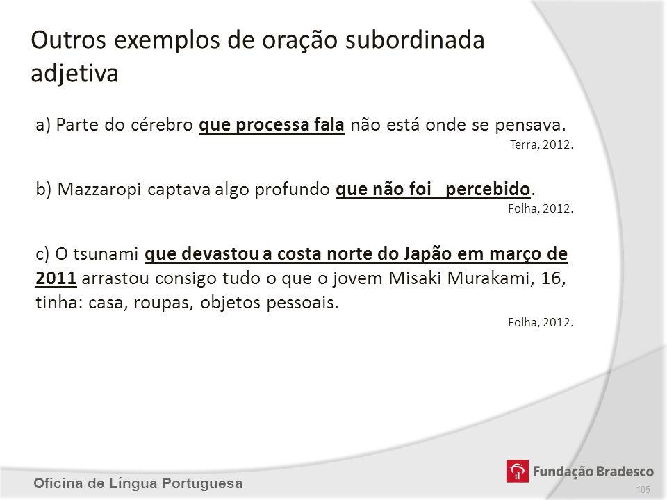 Oficina de Língua Portuguesa a) Parte do cérebro que processa fala não está onde se pensava. Terra, 2012. b) Mazzaropi captava algo profundo que não f