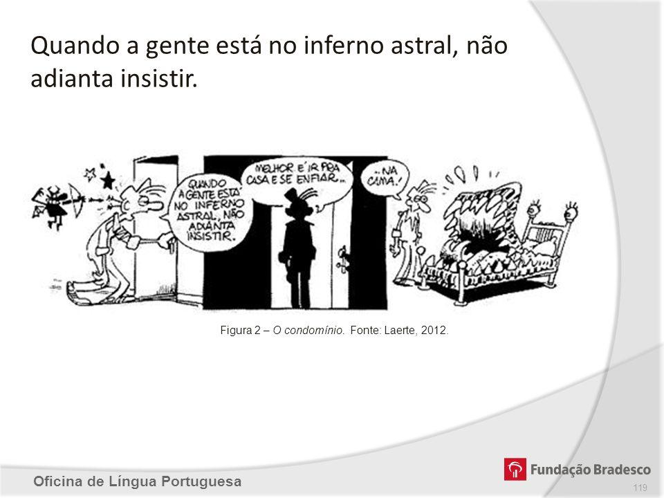 Oficina de Língua Portuguesa Quando a gente está no inferno astral, não adianta insistir. Figura 2 – O condomínio. Fonte: Laerte, 2012. 119