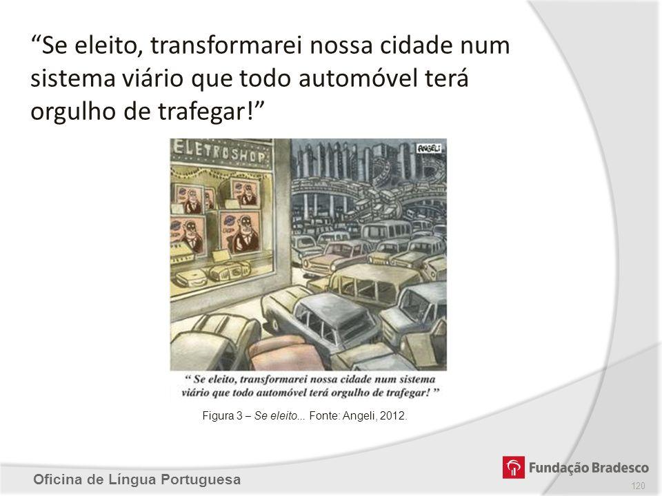 Oficina de Língua Portuguesa Figura 3 – Se eleito... Fonte: Angeli, 2012. Se eleito, transformarei nossa cidade num sistema viário que todo automóvel