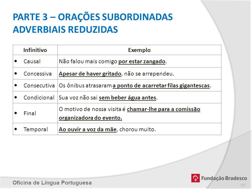 Oficina de Língua Portuguesa PARTE 3 – ORAÇÕES SUBORDINADAS ADVERBIAIS REDUZIDAS InfinitivoExemplo CausalNão falou mais comigo por estar zangado. Conc