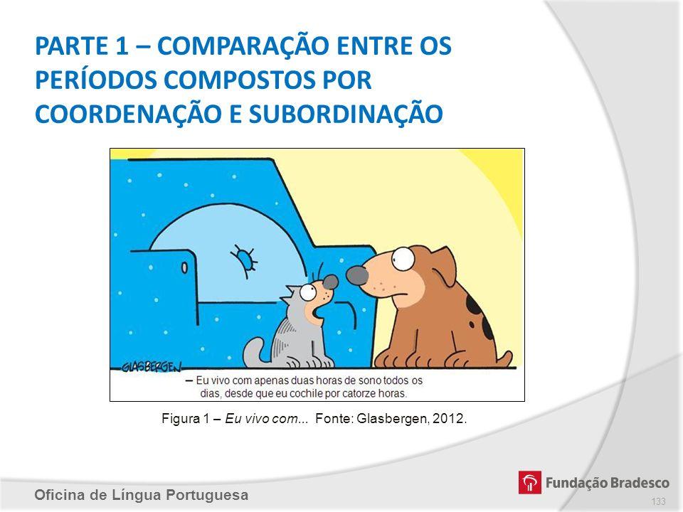 Oficina de Língua Portuguesa PARTE 1 – COMPARAÇÃO ENTRE OS PERÍODOS COMPOSTOS POR COORDENAÇÃO E SUBORDINAÇÃO Figura 1 – Eu vivo com... Fonte: Glasberg