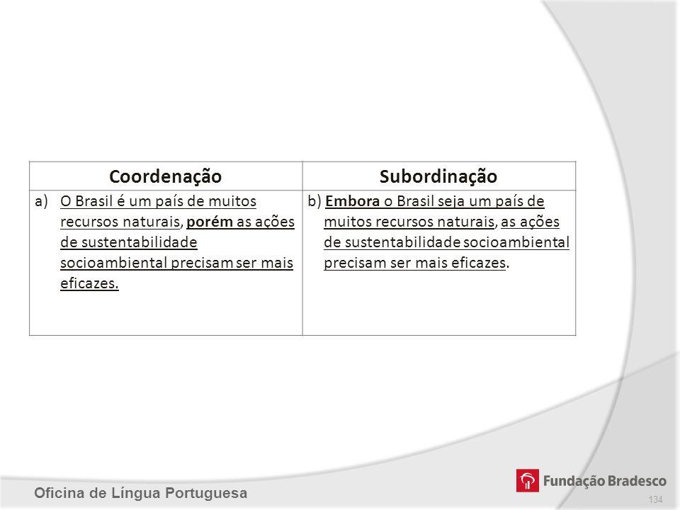 Oficina de Língua Portuguesa CoordenaçãoSubordinação a)O Brasil é um país de muitos recursos naturais, porém as ações de sustentabilidade socioambient