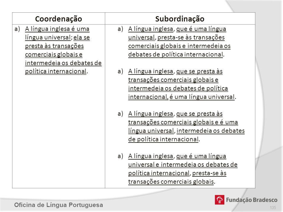 Oficina de Língua Portuguesa CoordenaçãoSubordinação a)A língua inglesa é uma língua universal; ela se presta às transações comerciais globais e inter