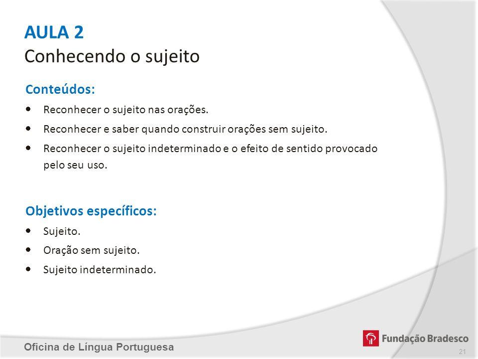 AULA 2 Conhecendo o sujeito Oficina de Língua Portuguesa Conteúdos: Reconhecer o sujeito nas orações. Reconhecer e saber quando construir orações sem