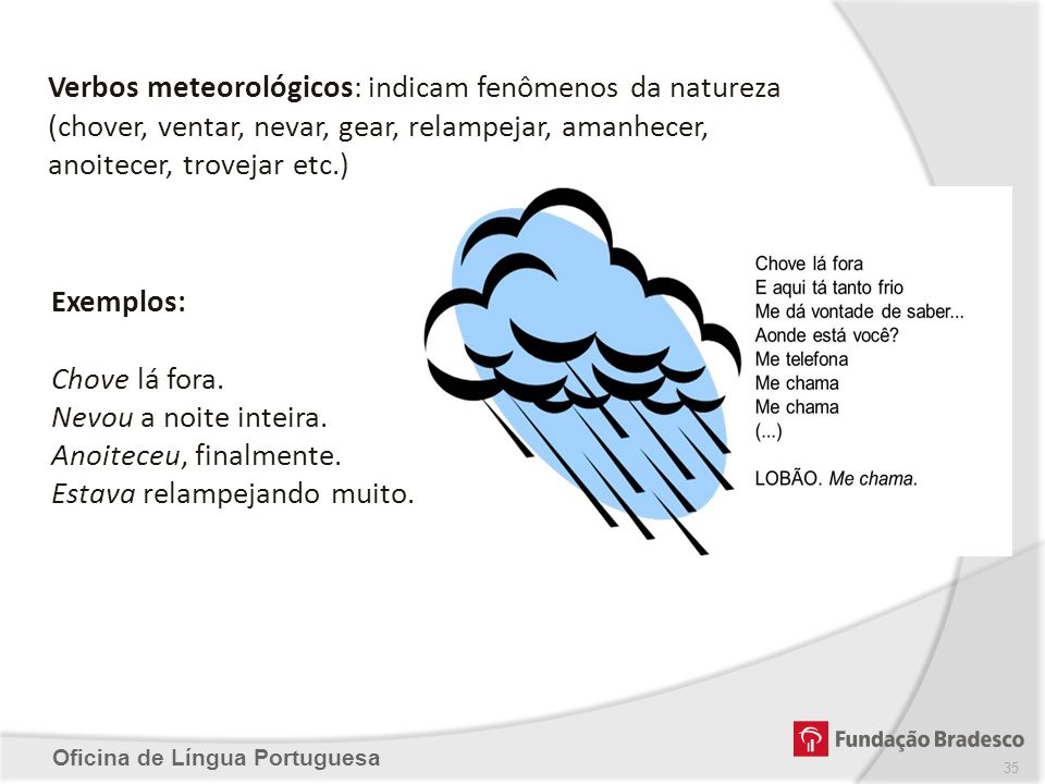 Oficina de Língua Portuguesa Verbos meteorológicos: indicam fenômenos da natureza (chover, ventar, nevar, gear, relampejar, amanhecer, anoitecer, trov