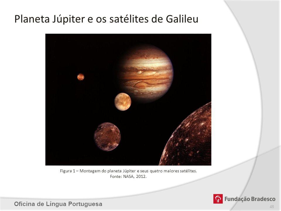 Planeta Júpiter e os satélites de Galileu Oficina de Língua Portuguesa Figura 1 – Montagem do planeta Júpiter e seus quatro maiores satélites. Fonte:
