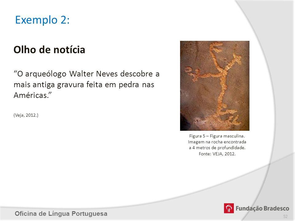 Exemplo 2: Oficina de Língua Portuguesa Olho de notícia O arqueólogo Walter Neves descobre a mais antiga gravura feita em pedra nas Américas. (Veja, 2