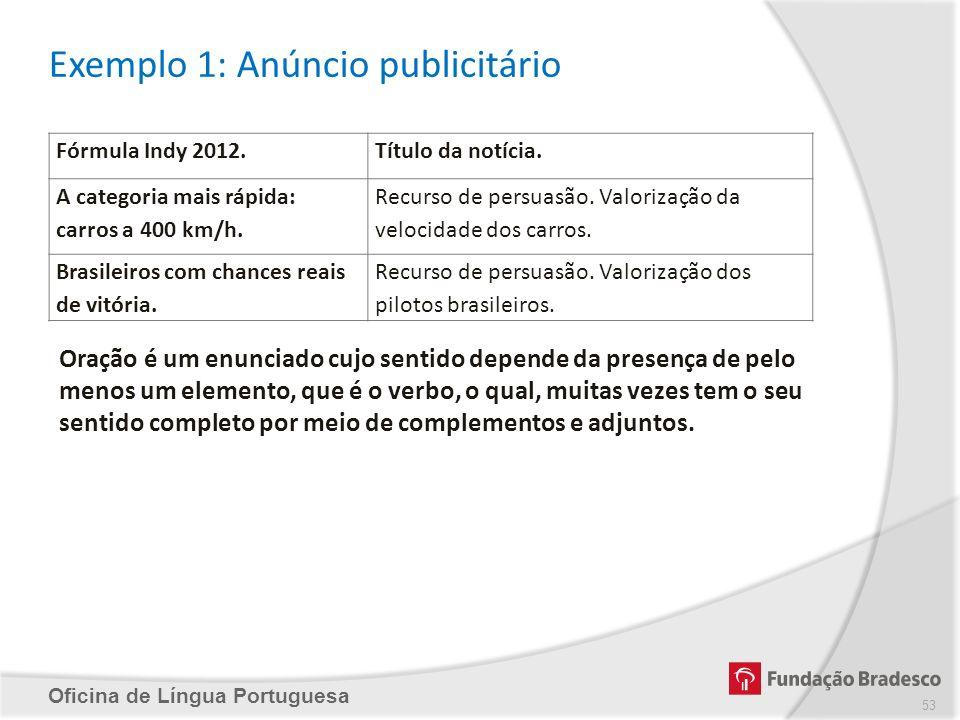 Exemplo 1: Anúncio publicitário Oficina de Língua Portuguesa Fórmula Indy 2012.Título da notícia. A categoria mais rápida: carros a 400 km/h. Recurso