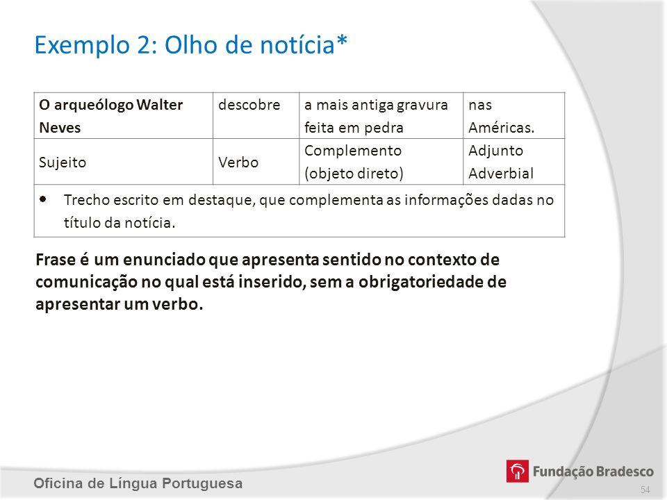 Exemplo 2: Olho de notícia* Oficina de Língua Portuguesa O arqueólogo Walter Neves descobre a mais antiga gravura feita em pedra nas Américas. Sujeito