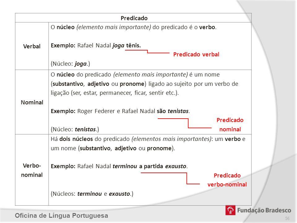 Oficina de Língua Portuguesa Predicado Verbal O núcleo (elemento mais importante) do predicado é o verbo. Exemplo: Rafael Nadal joga tênis. Predicado