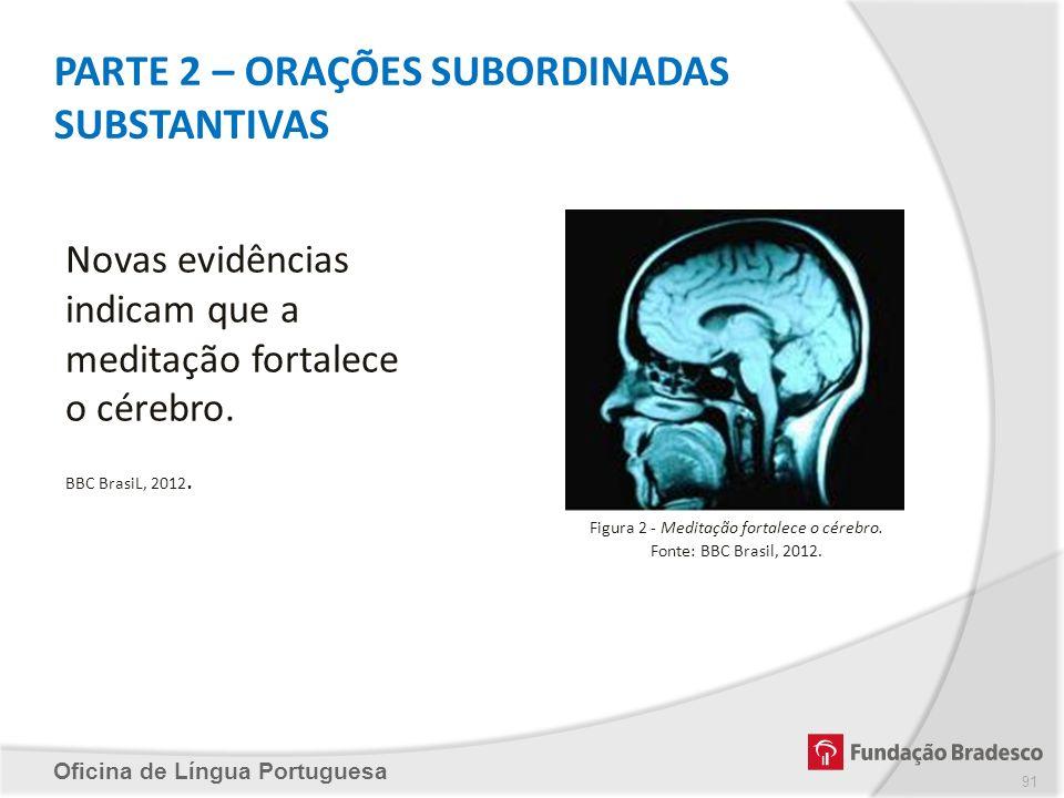 PARTE 2 – ORAÇÕES SUBORDINADAS SUBSTANTIVAS Oficina de Língua Portuguesa Novas evidências indicam que a meditação fortalece o cérebro. BBC BrasiL, 201