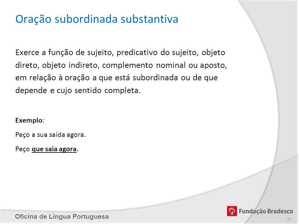 Oficina de Língua Portuguesa Oração subordinada substantiva Exerce a função de sujeito, predicativo do sujeito, objeto direto, objeto indireto, comple