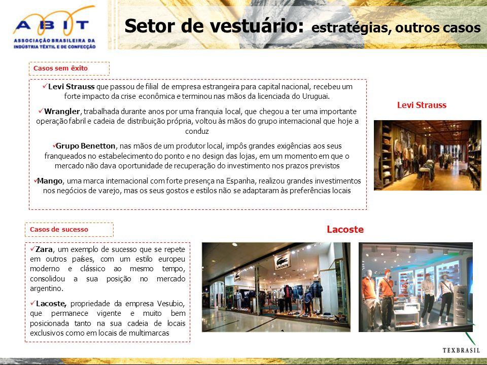 Setor de vestuário: estratégias, outros casos Levi Strauss que passou de filial de empresa estrangeira para capital nacional, recebeu um forte impacto da crise econômica e terminou nas mãos da licenciada do Uruguai.