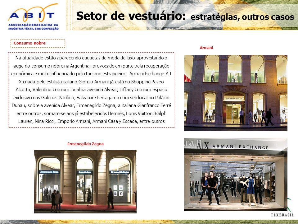 Setor de vestuário: estratégias, outros casos Na atualidade estão aparecendo etiquetas de moda de luxo aproveitando o auge do consumo nobre na Argentina, provocado em parte pela recuperação econômica e muito influenciado pelo turismo estrangeiro.