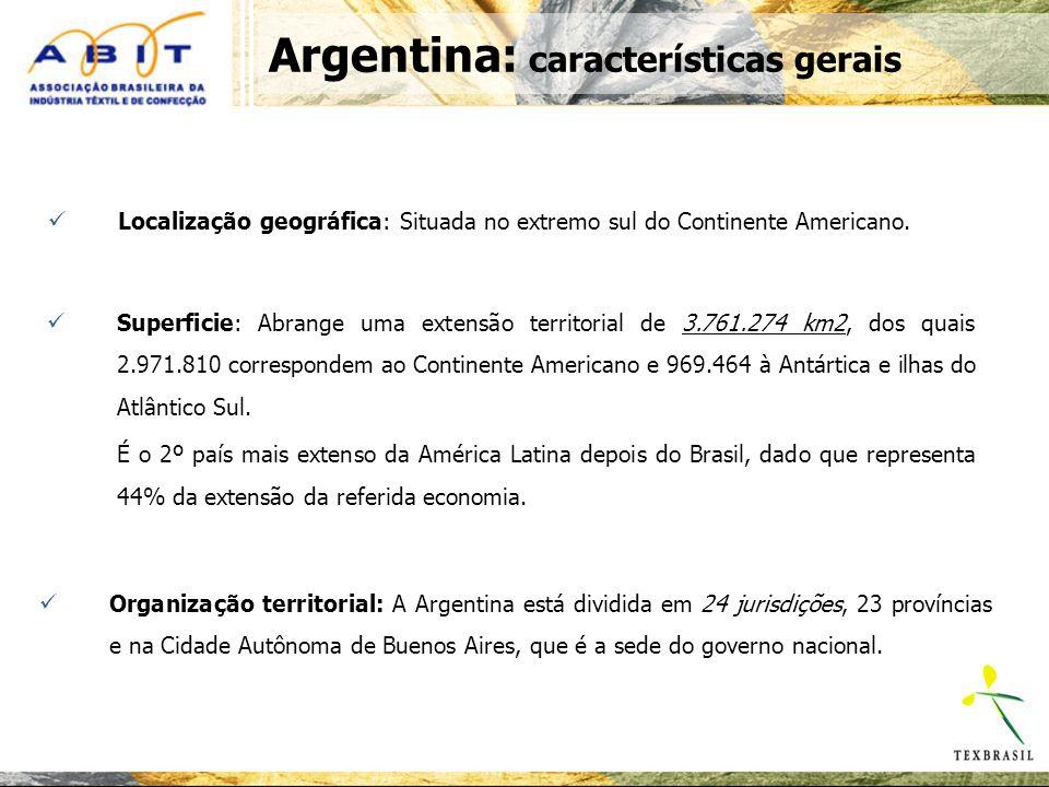 Argentina: características gerais Localização geográfica: Situada no extremo sul do Continente Americano.