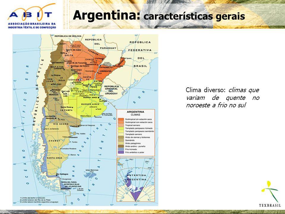 Argentina: População geral e divisão por regiões Total: 36.260.130 habitantes Densidade da população: 12,9 hab/km2 População por sexo: Homens48,80% Mulheres51,20% População por zona: Urbana89,40% Rural10,60% Densidade populacional relativamente baixa População com maioria feminina (51,2%) e urbana (89,4%) Distribuição da população por faixa etária e sexo Fonte: abeceb.com com base na EPH, Ministério da Economia Caracterização da população 50,150,4 49,4 46,846,5 47,6 42,1 39,4 47,7 49,949,6 50,6 53,253,5 52,4 57,9 60,6 52,3 0 20 40 60 80 100 0-1011-2021-3031-4041-5051-6061-7071 ou mais Total Mulher Homem