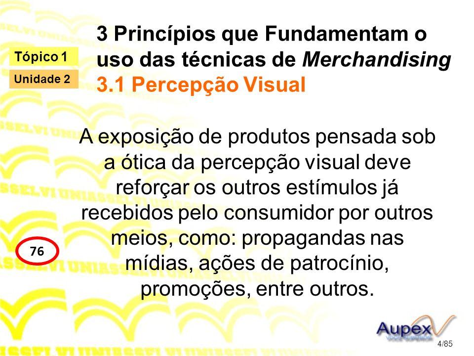 3 Princípios que Fundamentam o uso das técnicas de Merchandising 3.1 Percepção Visual A exposição de produtos pensada sob a ótica da percepção visual