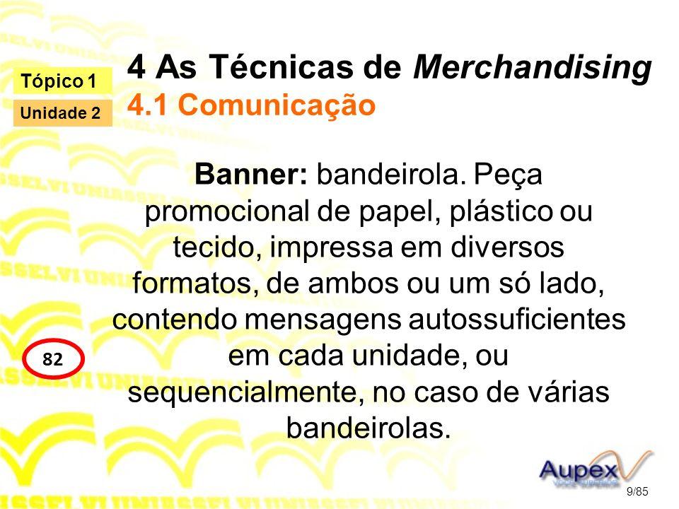 4 As Técnicas de Merchandising 4.1 Comunicação Banner: bandeirola. Peça promocional de papel, plástico ou tecido, impressa em diversos formatos, de am